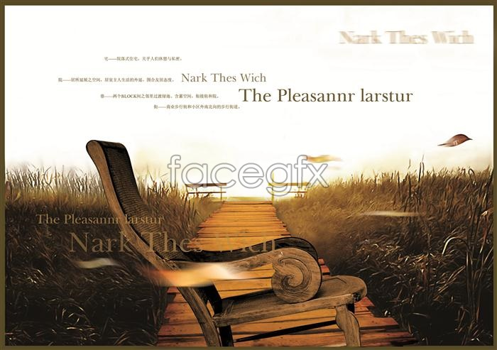 Music CD cover chairs fall plant PSD