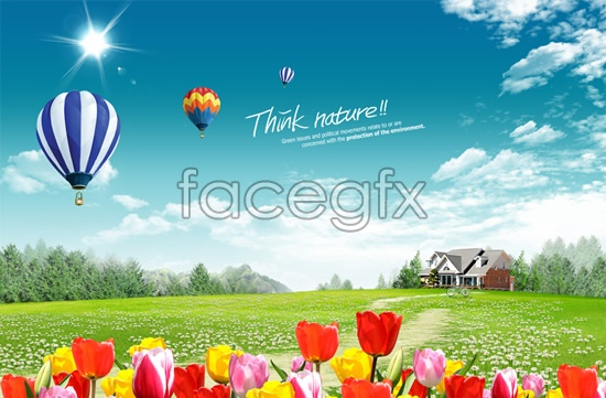 Outskirts of spring flowers blooming landscapes PSD