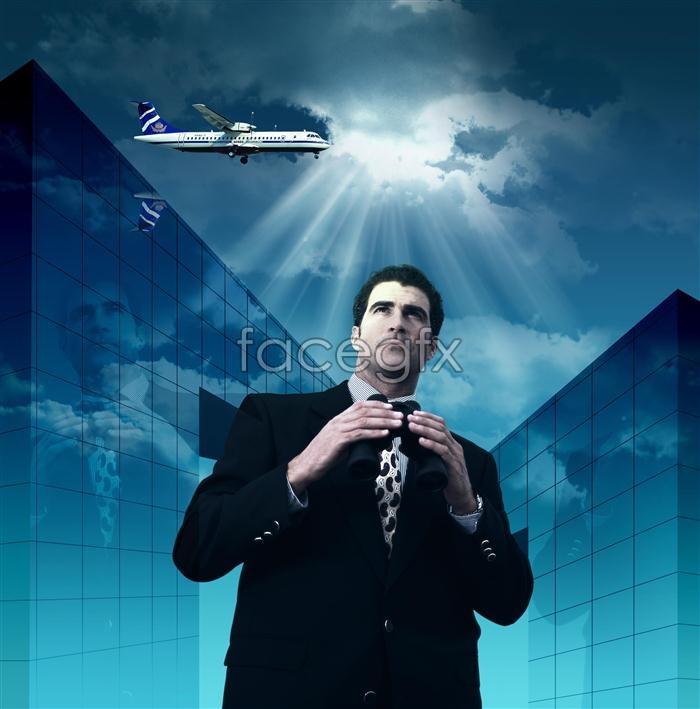 Telescope shadows sky aircraft business man PSD