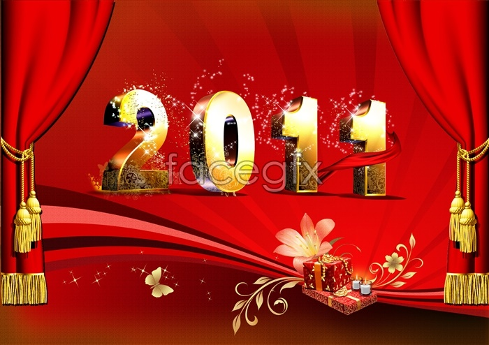 2011 new year gift templates PSD