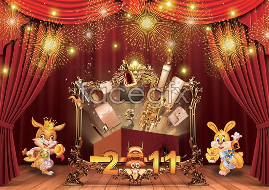 Fu rabbit new year stage PSD