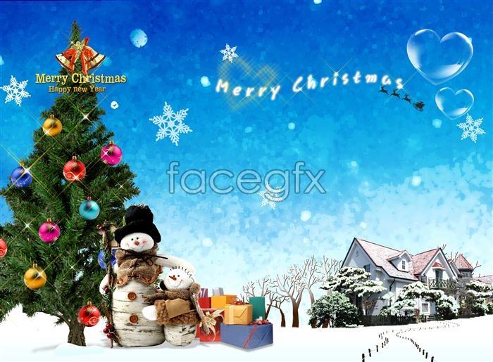 Korea Christmas Snow heart-shaped PSD
