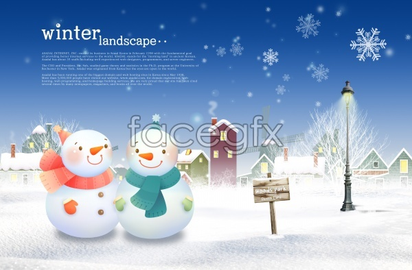 Material in China provide a cartoon snowman poster source files PSD