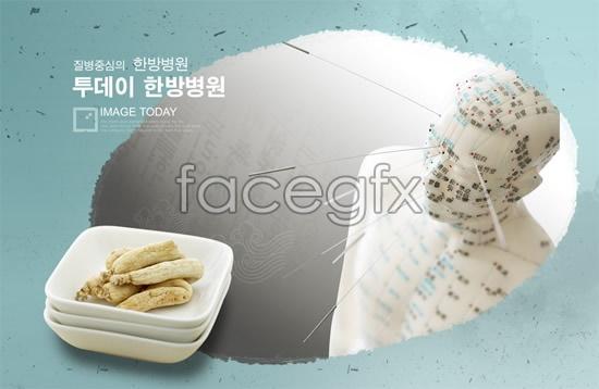 Medical wellness ginseng poster PSD