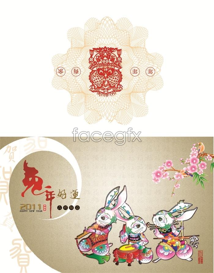 Rabbit paper good luck greeting card template PSD