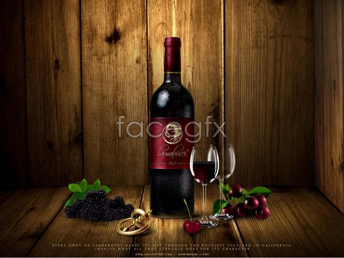 Wine advertisement posters, grape wine bottle opener PSD