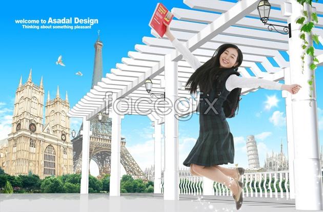 Outdoor jumping girls PSD