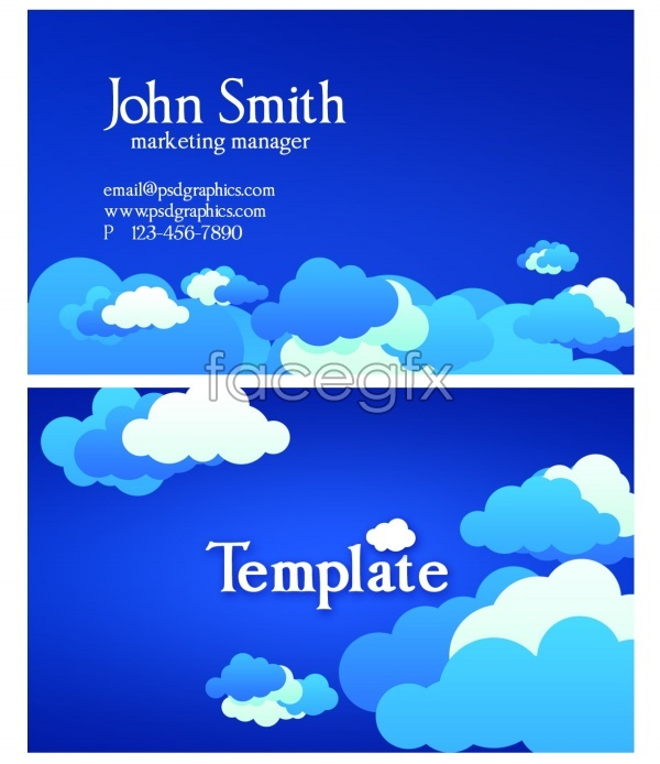 PSD abstract blue business card design templates