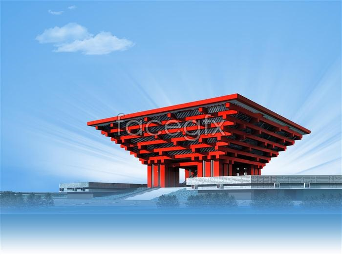 The China Pavilion at the Shanghai Expo footage PSD