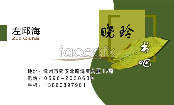 Books about green business cards PSD