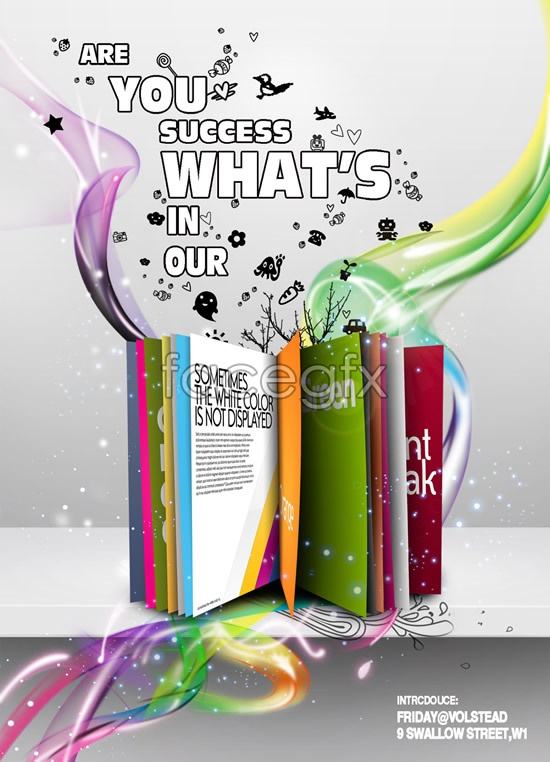 Europe and colorful trendy poster design PSD