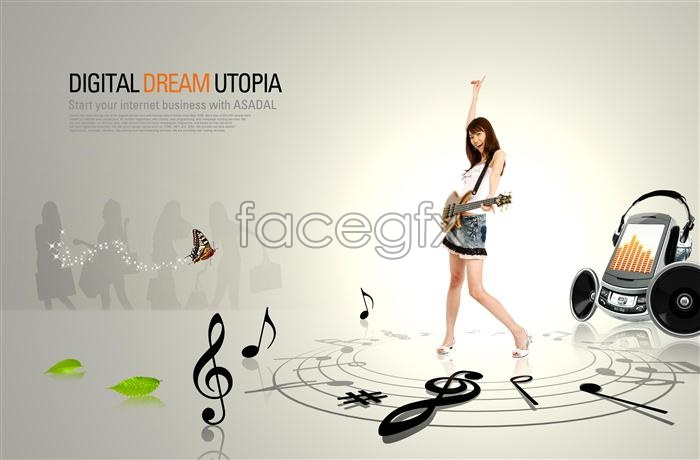Korea girl guitar speaker headphone guitar PSD