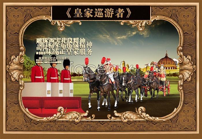 Royal riding grass Palace parade poster PSD