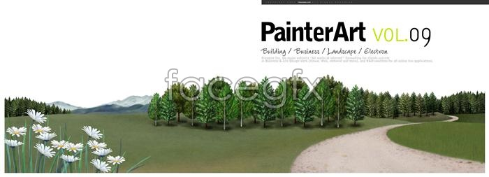 Banner illustration the forest scenery   PSD