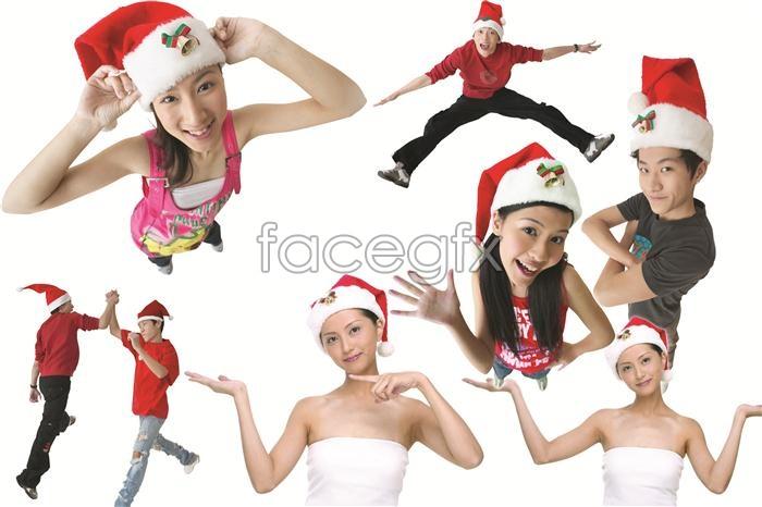 Christmas-themed characters beautiful cute Christmas Hat PSD