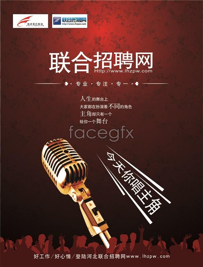 Employment NET poster microphone PSD