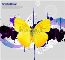 Yellow Butterfly background graffiti Korea design elements PSD