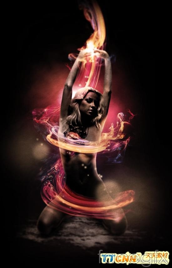 Flame effect beautiful figure girls feel templates PSD