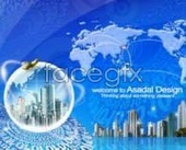 Digital technology network covering the Earth covering the world PSD