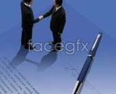 Business talks successful pen PSD