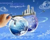 Business themes earth globe lock PSD