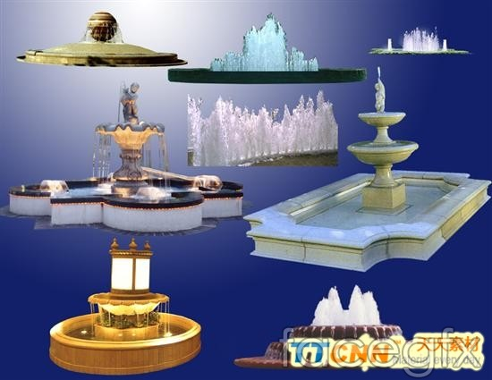 Central Plaza fountain pool of  templates PSD