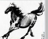 Xu Beihong running horse figure painting PSD