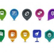 Navigation location positioning icons PSD