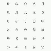 Small fine line icons psd