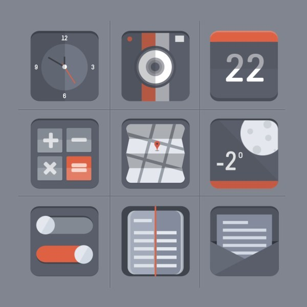 Vintage flat app icons PSD