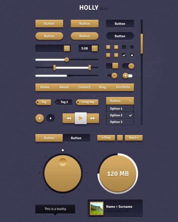 Golden Web UI design source files PSD free
