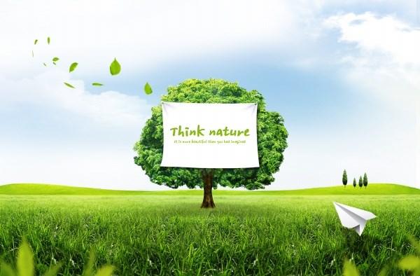 Green outdoor landscape PSD  design