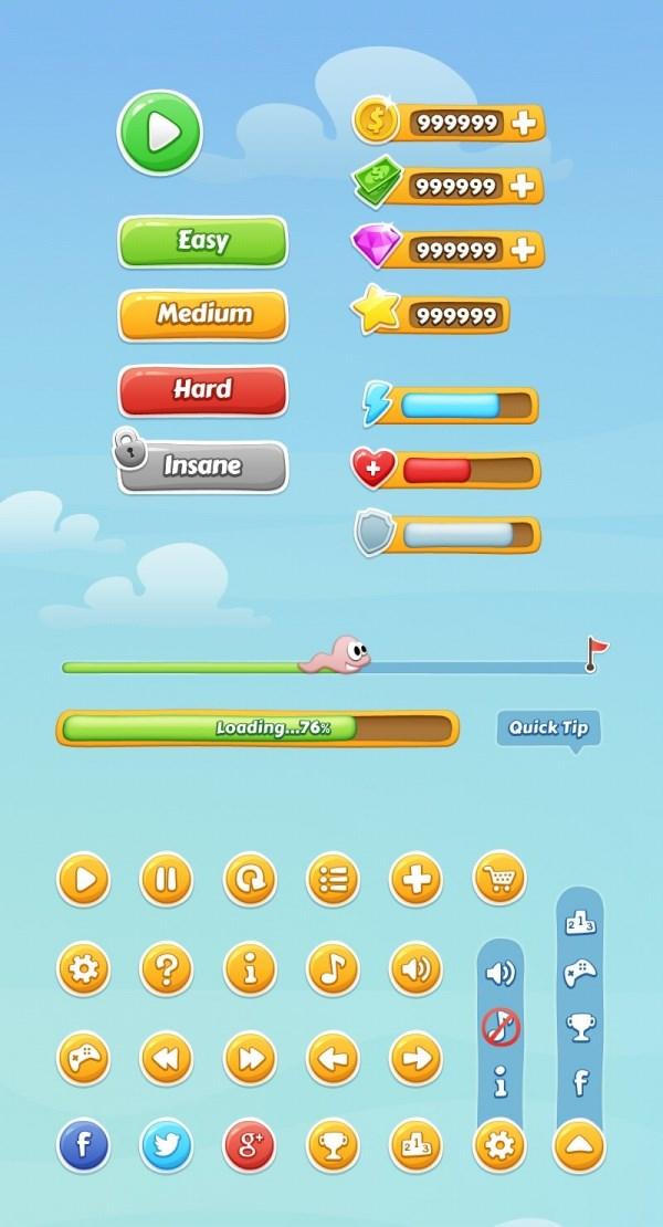 Mobile game UI source PSD free