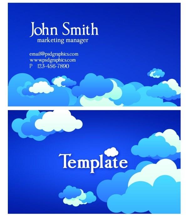 Creative clouds PSD business card template design