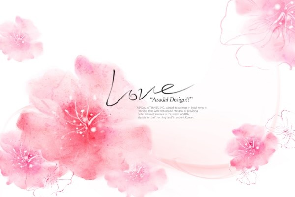 Pink flowers for romantic PSD