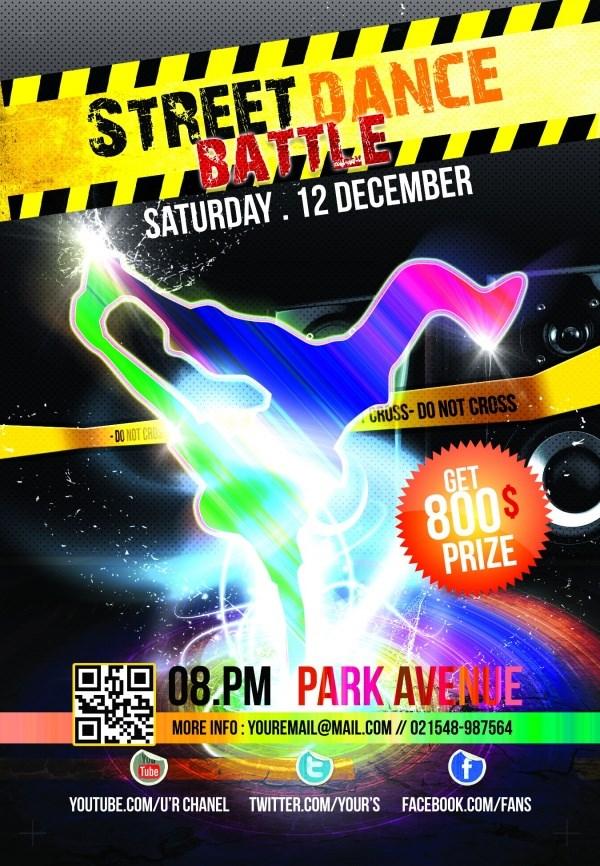 Street Dance Championship poster template PSD free
