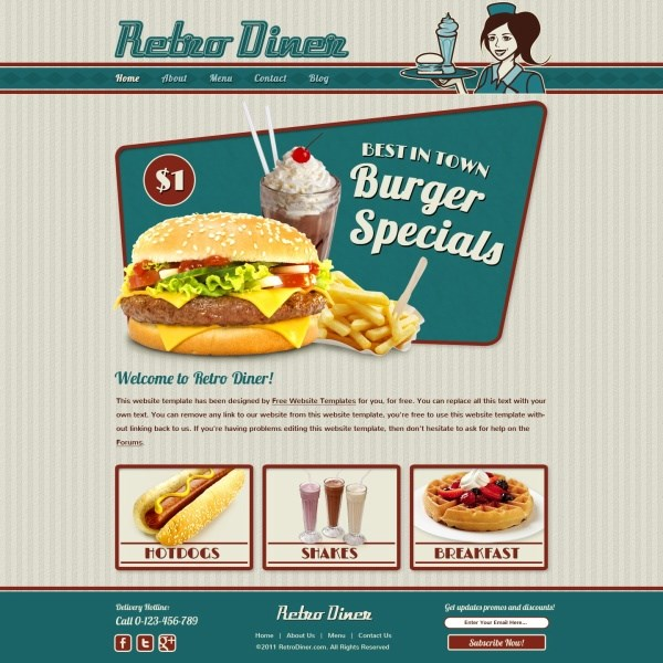Western-style fast food PSD Web design templates