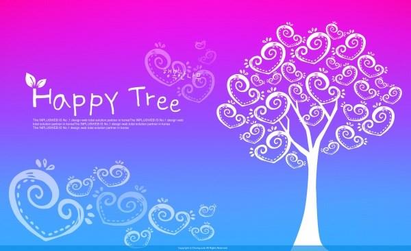 Heart-shaped trees PSD creative backgrounds