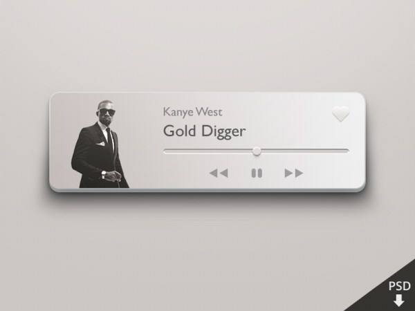 Music player UI design PSD free