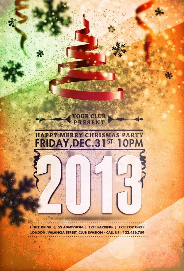 2013 Christmas party retro poster design PSD free