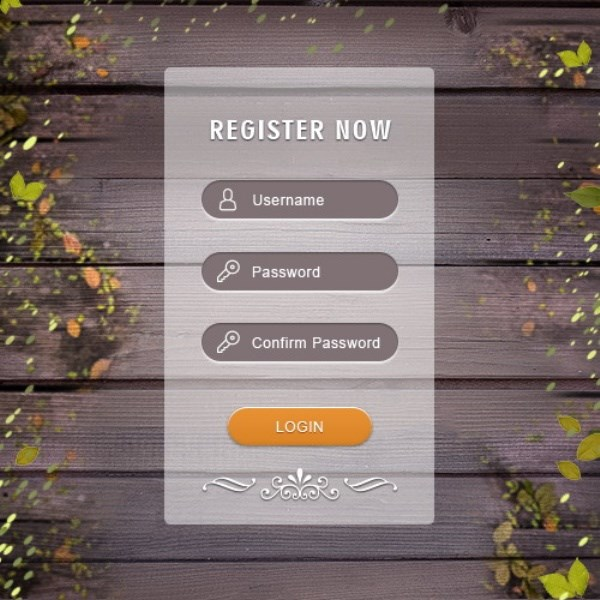 Member login box UI design template PSD free