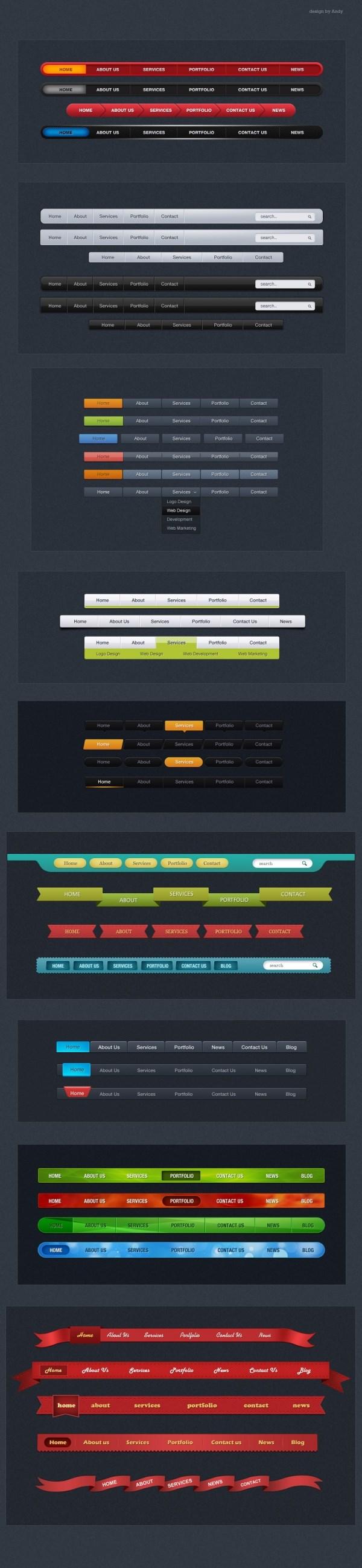 39 pages navigation bar designs PSD