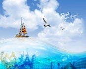 Blue water background PSD creative design