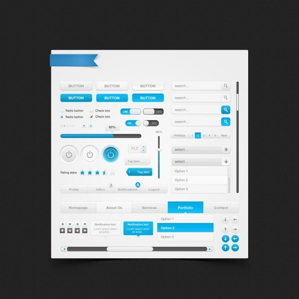 WEB blue grey Web page elements PSD