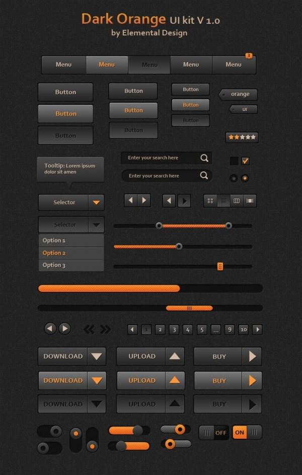 Dark orange UI toolkit PSD free