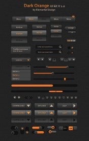 Dark orange UI toolkit PSD free