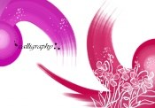 Red ink of purple flower PSD