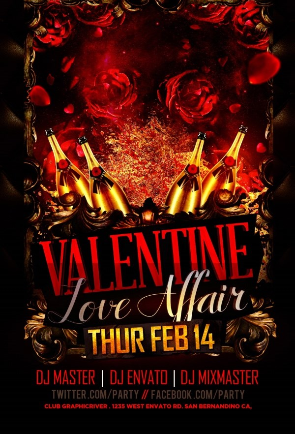 Valentine's Day party poster source files PSD free
