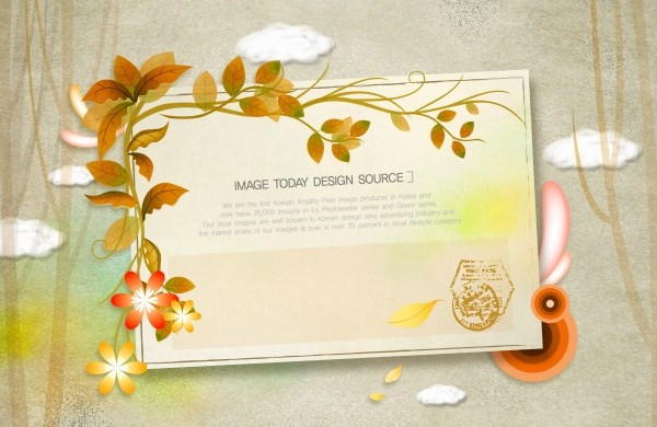 Leaf decorative paper PSD design