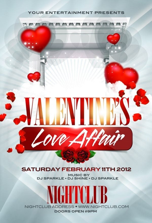 Outside Valentine's Day poster templates PSD